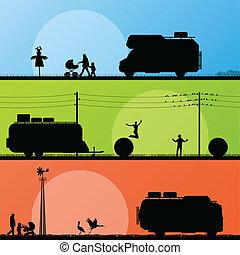 dettagliato, campeggiatori, turisti, silhouette, veicolo