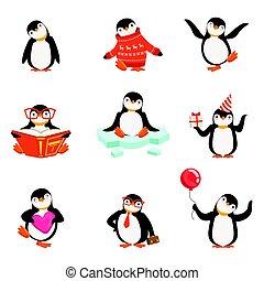 dettagliato, carino, poco, set, colorito, etichetta, vettore, caratteri, illustrazioni, pinguino, cartone animato, design.