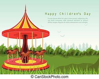 dettagliato, cavallo, vector., bambini, carosello, illustrazioni, giorno, scheda, felice