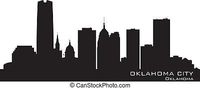 dettagliato, città, oklahoma, silhouette, skyline.