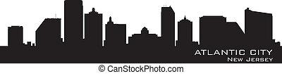 dettagliato, città, silhouette., atlantico, nuovo, skyline., jersey