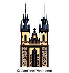 dettagliato, città, tyn, praga, isolato, illustrazione, simbolo, vettore, chiesa, pixel