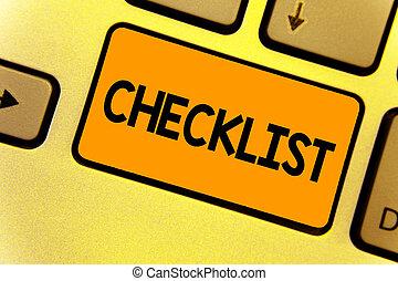 dettagliato, concetto, checklist., riflessione, affari, calcolare, testo, creare, attività, elenco, giallo, scrittura giù, intention, computer, qualcosa, chiave, tastiera, parola, guida, document.