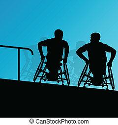 dettagliato, concetto, silhouette, scala, carrozzella, uomini, giovane, illustrazione, invalido, vettore, salute, fondo, attivo, passi, cura