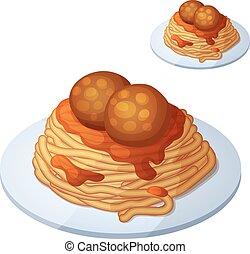 dettagliato, cooking., carne, ingredienti, cibo, serie, bevanda, isolato, fondo., vettore, balls., spaghetti, bianco, icona