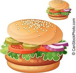 dettagliato, cooking., hamburger., ingredienti, cibo, serie, bevanda, isolato, fondo., vettore, bianco, icona