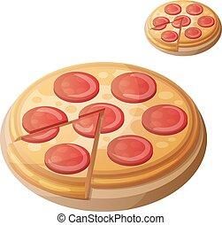 dettagliato, cooking., pizza., ingredienti, cibo, serie, bevanda, isolato, fondo., vettore, pepperoni, bianco, icona