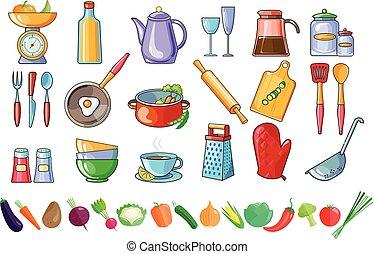dettagliato, cooking., set, vegetables., colorito, ingredienti, icone cibo, theme., utensili cucina, vettore, fresco, casa fece, attrezzi, bibite