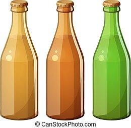 dettagliato, cooking., vettore, bottiglie, vetro, cibo, serie, bevanda, isolato, fondo., senza, ingredienti, label., bianco, icona