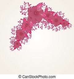 dettagliato, cornice, mano, fondo, floreale, disegnato