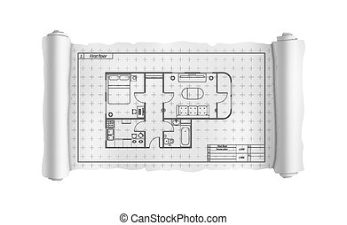 dettagliato, costruzione, cianografia, casa, ingegneria, bianco, rotolo, piano