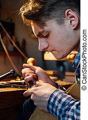 dettagliato, creazione, lavorativo, luthier, lavoro, wood.,...