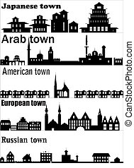 dettagliato, differente, vettore, skylines, città
