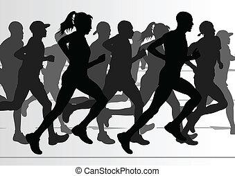 dettagliato, donna, illustrazione, maratona, attivo, ...