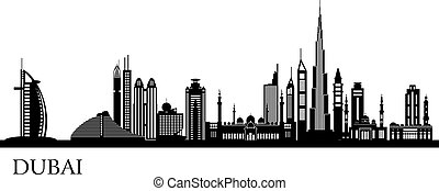 dettagliato, dubai, orizzonte, città, silhouette