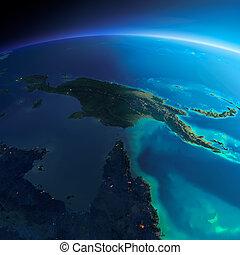 dettagliato, earth., australia, e, papua nuova guinea