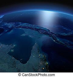 dettagliato, earth., australia, e, papua nuova guinea, su, uno, illuminato dalla luna, notte