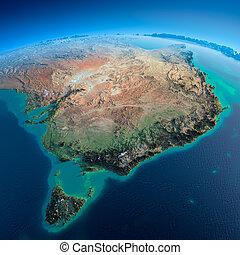dettagliato, earth., australia, e, tasmania