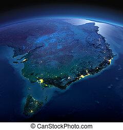 dettagliato, earth., australia, e, tasmania, su, uno, illuminato dalla luna, notte