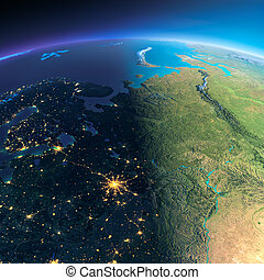 dettagliato, earth., europeo, parte, russia