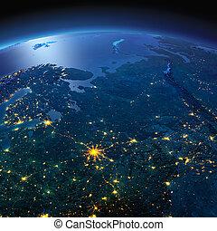 dettagliato, earth., europeo, parte, russia, su, uno, illuminato dalla luna, notte