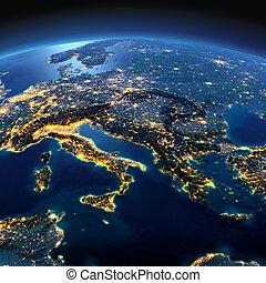 dettagliato, earth., italia, grecia, e, mare mediterraneo, su, uno, illuminato dalla luna, notte