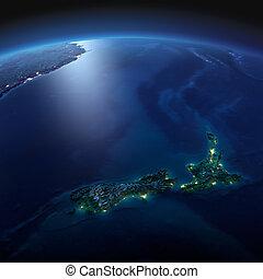 dettagliato, earth., nuova zelanda, su, uno, illuminato dalla luna, notte