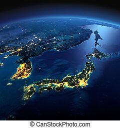 dettagliato, earth., parte, asia, giappone, e, corea, giapponese, mare, su, uno, illuminato dalla luna, notte