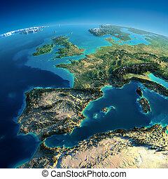 dettagliato, earth., spagna, e, mare mediterraneo