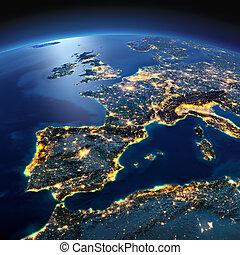 dettagliato, earth., spagna, e, mare mediterraneo, su, uno, illuminato dalla luna, notte