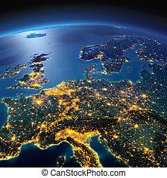 dettagliato, europa, centrale, notte, illuminato dalla luna, earth.