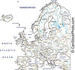 dettagliato, europa, mappa, alto, labeling., strada