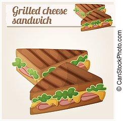 dettagliato, formaggio, sandwich., vettore, cotto ferri,...