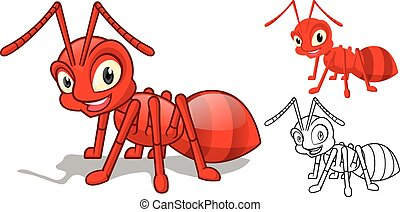 dettagliato, formica, carattere, cartone animato, rosso