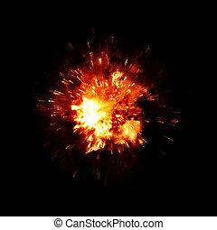 dettagliato, fuoco, esplosione, fondo, nero