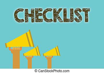 dettagliato, guida, concetto, checklist., forte, testo, elenco, megafoni, giù, parlare, significato, discorso, qualcosa, attività, discorso, scrittura, grunge., grida, grido, altoparlanti