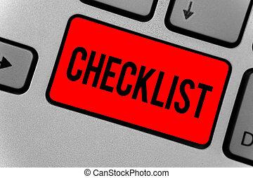 dettagliato, guida, foto, riflessione, calcolare, testo, creare, attività, elenco, segno, giù, intention, computer, document., qualcosa, chiave, tastiera, concettuale, checklist., esposizione, rosso
