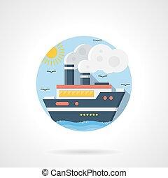 dettagliato, incrociatore, colorare, vettore, mare, icona
