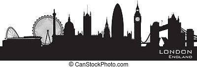 dettagliato, inghilterra, vettore, skyline., silhouette, londra