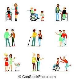 dettagliato, invalido, loro, set, colorito, persone, etichetta, porzione, illustrazioni, amici, cartone animato, design.