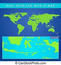 dettagliato, mappa, alto, vettore, mondo