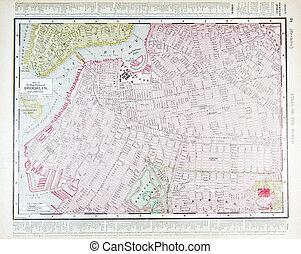 dettagliato, mappa antica, brooklyn, ny, strada, new york