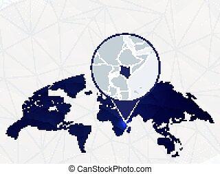 dettagliato, mappa, arrotondato, blu, map., evidenziato, kenia, mondo