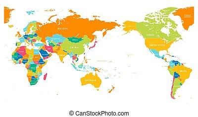 dettagliato, mappa, centro, colorare, -, asia, mondo