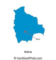 dettagliato, mappa, città, vettore, sucre, capitale, bolivia