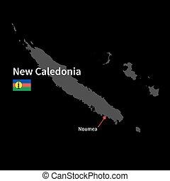 dettagliato, mappa, di, nuova caledonia, e, città capitale,...