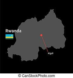dettagliato, mappa, kigali, bandiera, ruanda, sfondo nero, ...