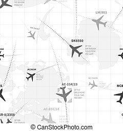 dettagliato, mappa, modello, seamless, radar, piani, monocromatico, bianco