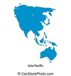 dettagliato, mappa, regione, asia, vettore, pacifico