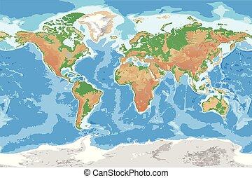 dettagliato, mappa, topografico, mondo, terra, fisico